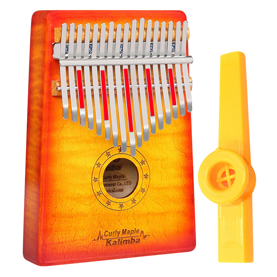 Đàn Kalimba Gecko 17 Phím Gỗ Phong Vân Hổ MC-S (Đỏ cam) Kèm Kèn Kazoo DreamMaker