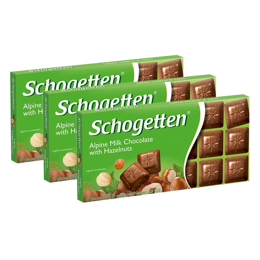 Combo 3 Thanh Sôcôla Ludwig Schokolade 13 Vị Schogetten - Hạt Dẻ (100g)