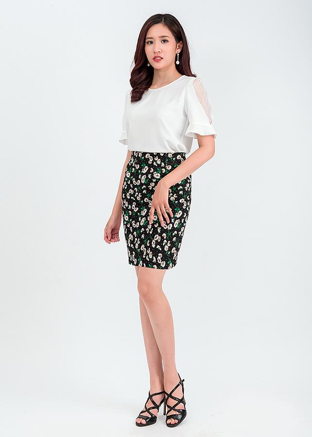 Set áo tay bèo phối ren mix chân váy ôm hoa 50401-32201