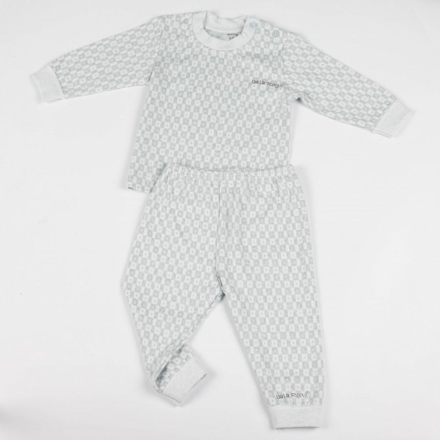 Bộ quần áo kẻ caro chấm dài tay cúc vai Uala Rogo - UR5051