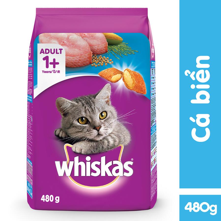 Đồ Ăn Cho Mèo Lớn Whiskas Vị Cá Biển Túi 480g