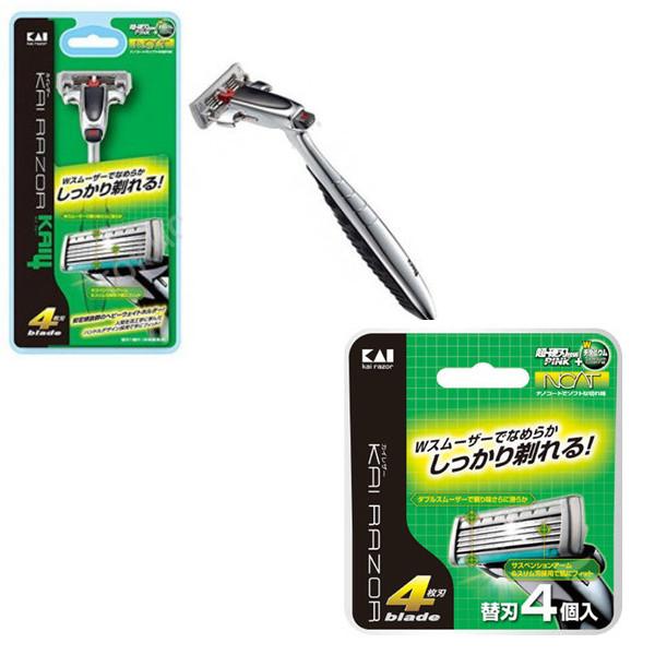 Combo dao cạo 5 lưỡi kép KAI + 4 lưỡi dao thay thế KAI - Tặng mút tắm dành cho nam nội địa Nhật Bản