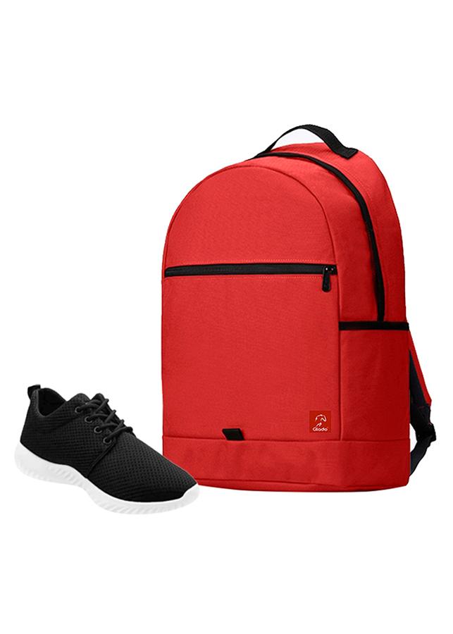 Combo Balo Glado Classical BLL006RE - Đỏ + Giày Sneaker GS062BA - Đen