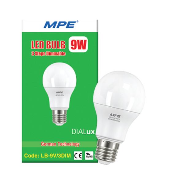 Đèn led bulb 3 cấp độ sáng 9w MPE