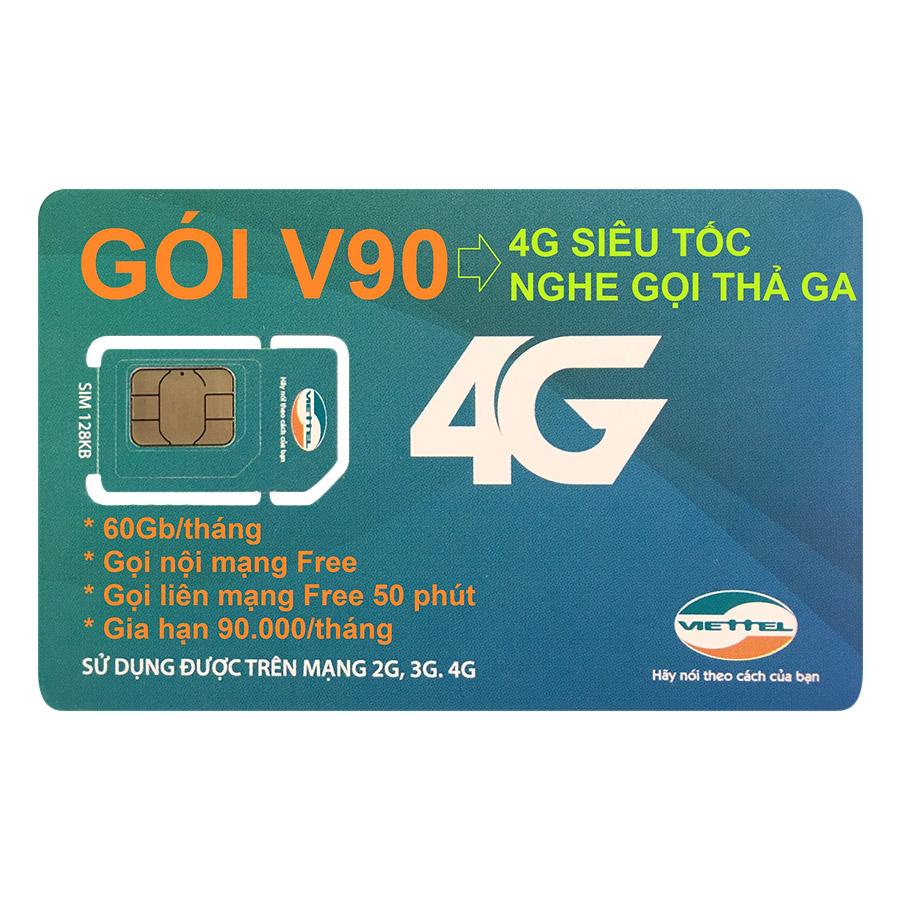 Sim 4G Viettel V90 (Khuyến Mãi 60GB / Tháng Trong 12 Tháng)
