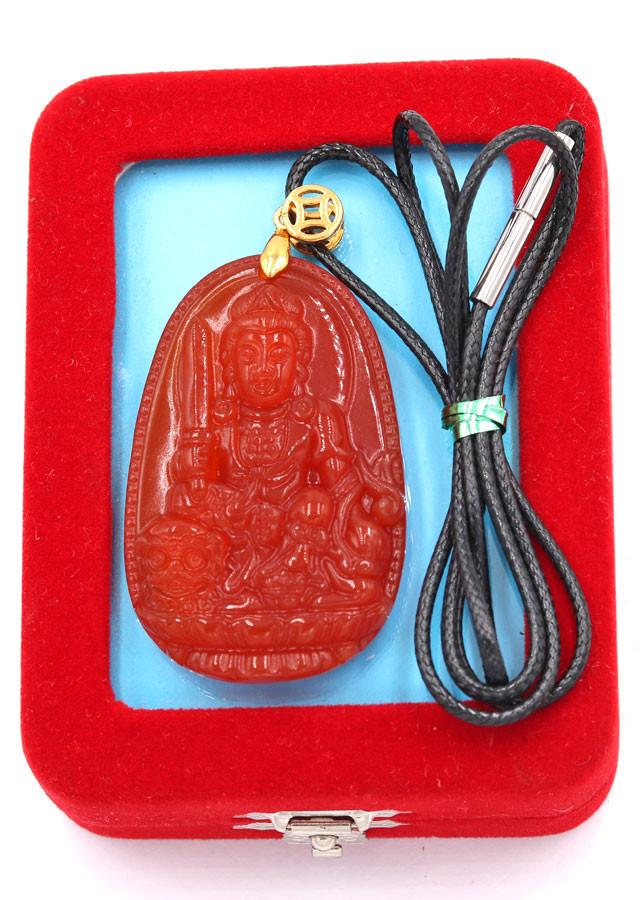 Vòng cổ Văn Thù Bồ Tát đỏ 5 cm DEDN3 kèm hộp nhung