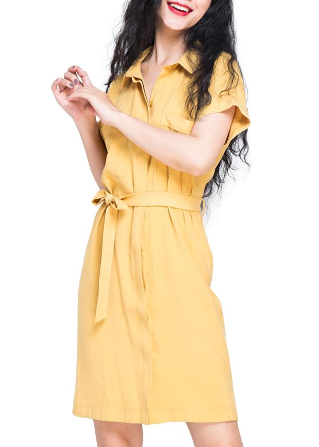 Đầm Sơ Mi Tay Ngắn Hity DRE004 - Vàng