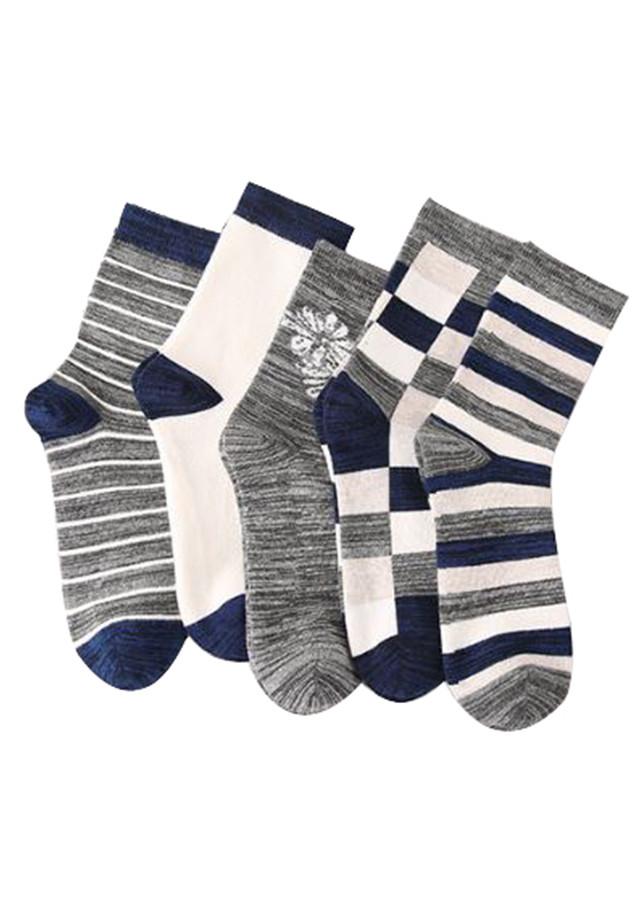 Bộ 5 đôi tất nam cổ trung chất cotton H17521