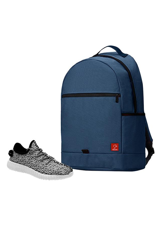 Combo Balo Glado Classical BLL006BU - Xanh Đen + Giày Sneaker GS011WH - Xám