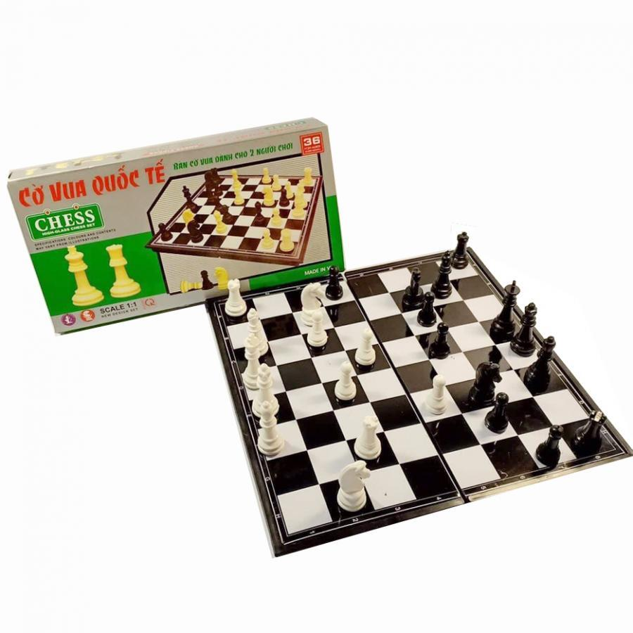 Bộ cờ vua nam châm hộp xanh (bàn đen trắng)