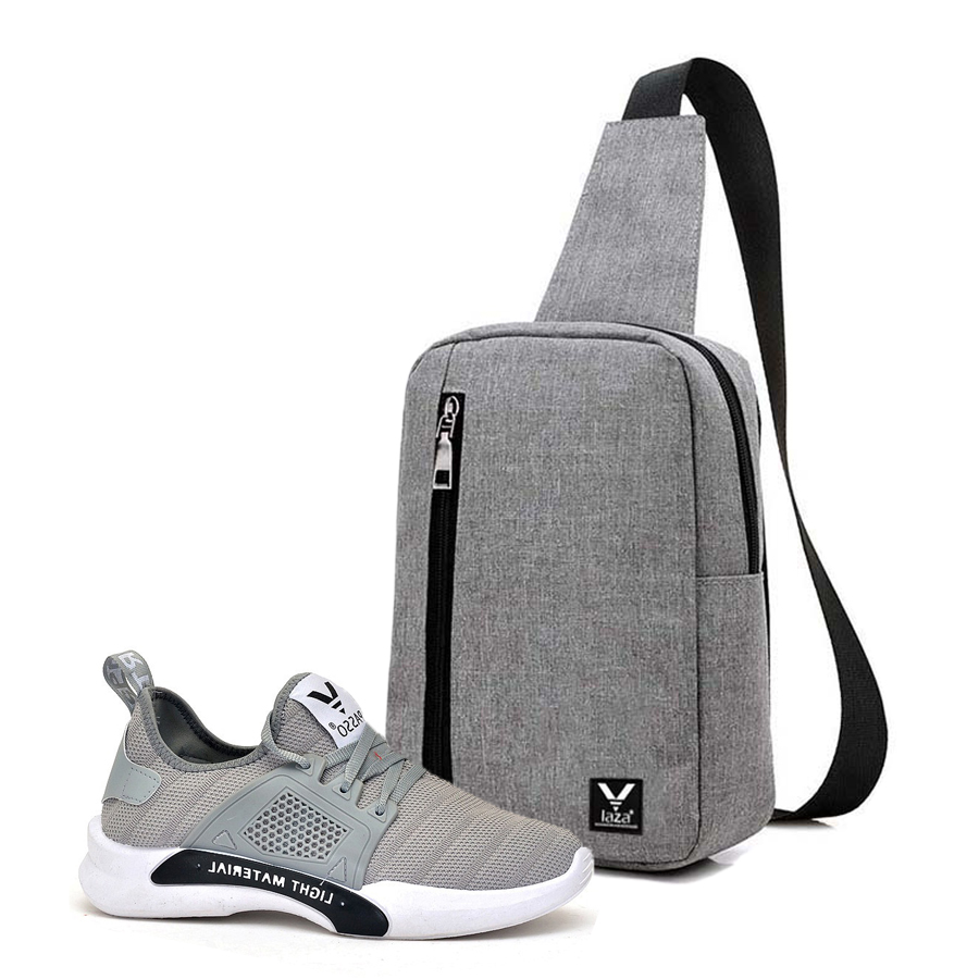 Combo Túi Đeo Chéo LAZA TX361 (16 x 24 cm) - Xám + Giày Sneakers Nam PASSO GTK065 - Xám