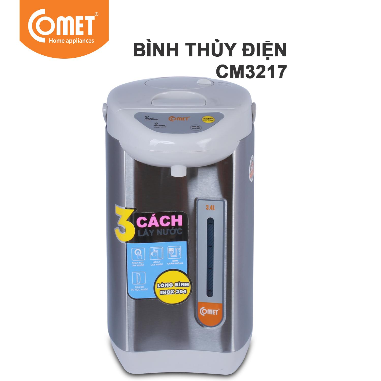 Bình thủy điện thép không gỉ Comet CM3217 3.4 Lít (Bạc)