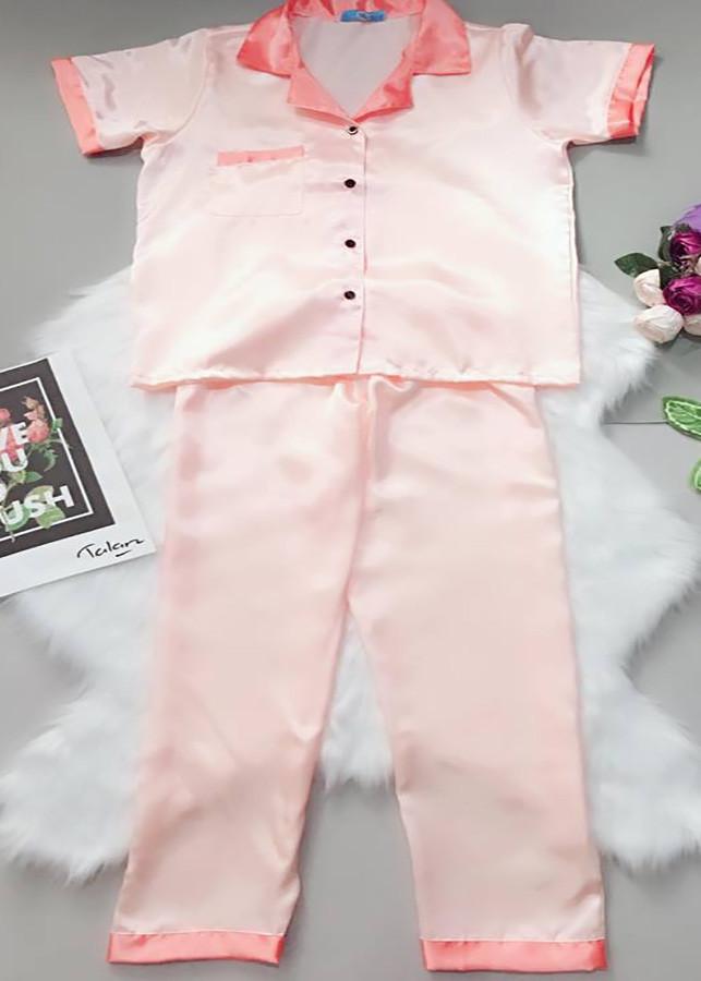 Đồ Bộ Satin Lụa Dài (Free Size)  Quần dài tay ngắn Phối PIJAMA1510 - Hồng nhạt phối hồng đậm