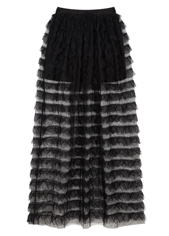 Chân váy maxi dài xếp tầng BERI đen - CV014