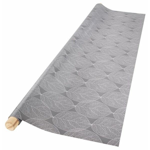 Tấm Trải Bàn Bleikstarr Nhựa PVC Họa Tiết Lá Cây  Xám R140cm