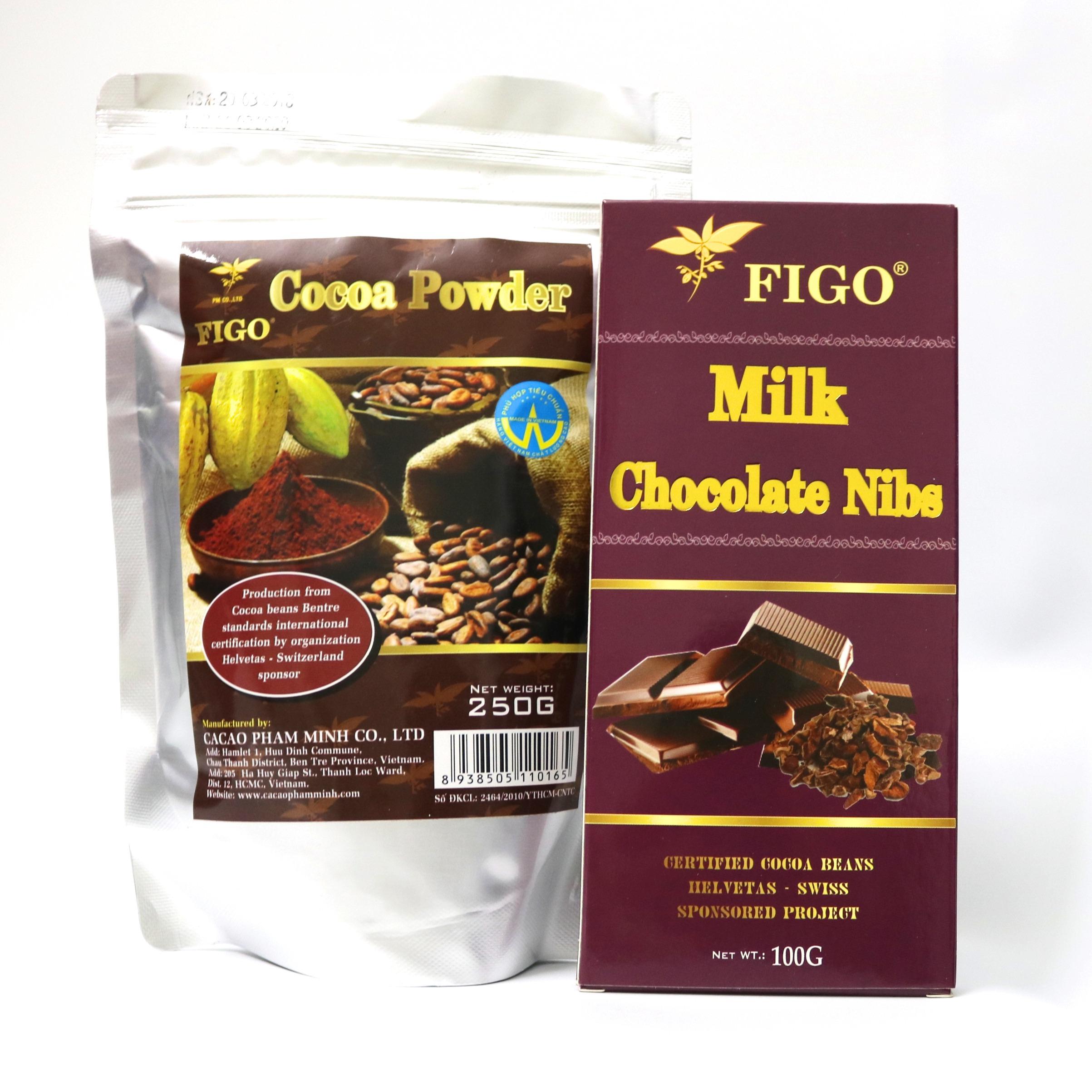 Combo túi 250g bột ca cao nguyên chất Figo và Socola sữa nhân hạt cacao nibs Figo 100g
