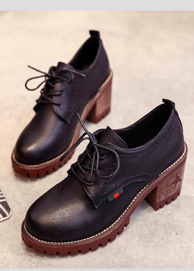 Giày oxford cao 5p da cao cấp siêu mềm siêu nhẹ đế gỗ màu đen