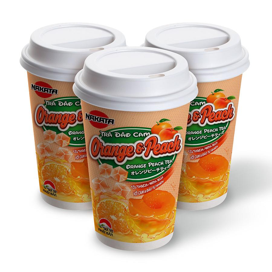 Lốc 3 Ly Trà Đào Cam Có Thạch Hiệu Nakata Peach  Orange