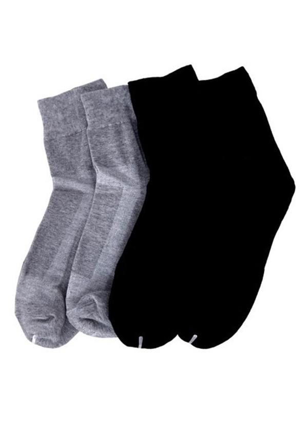 Combo 4 Đôi Tất Nam Cổ Trung Trơn Basic Wear 4Men - Đen/Xám Nhạt