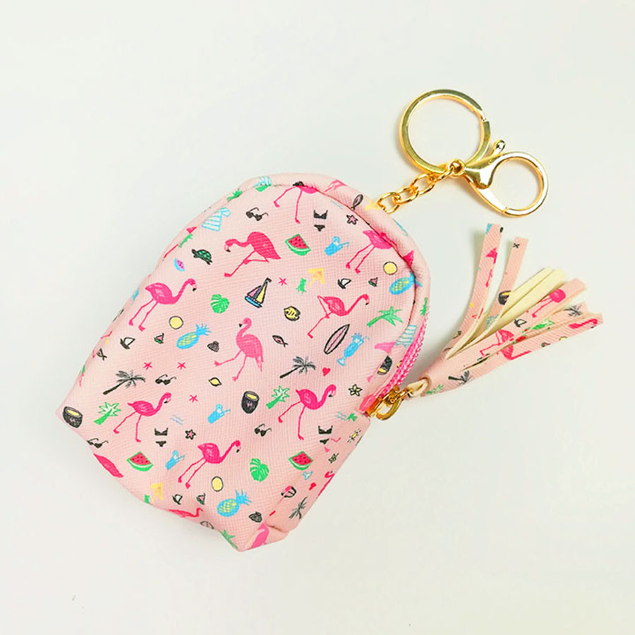 Móc khóa túi ví balo mini da PU - con hạc mini hồng phấn