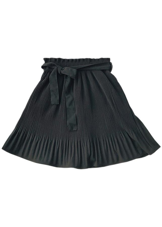 Chân váy ngắn xếp ly nhún thắt nơ eo