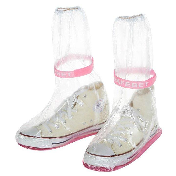 Ủng bọc giày đi mưa đế cao su chống trượt - Màu hồng
