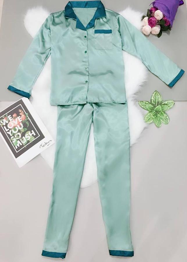 Đồ Bộ Satin Lụa Dài (Free Size) Tay Dài Quần Dài Phối  PIJAMA0310 - Xanh ngọc phối xanh lá
