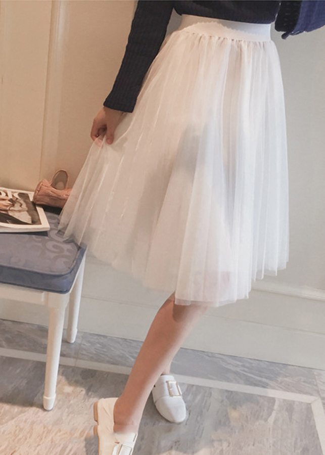 Chân váy midi tulle xòe tròn BERI trắng - CV007