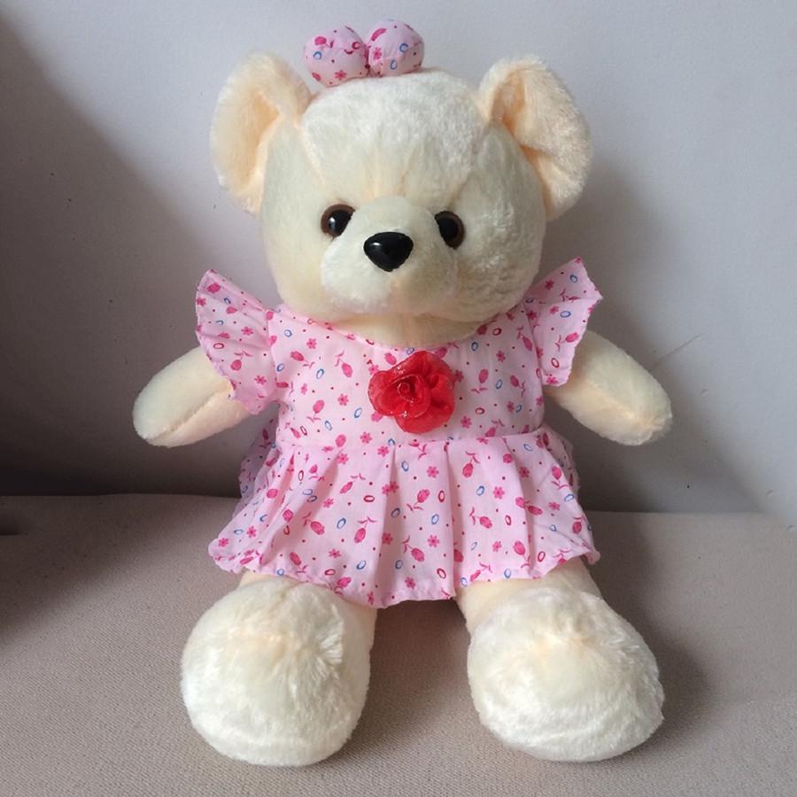 Gấu Bông Teddy Mặc Đầm Hoa Cao 50 cm - Kem