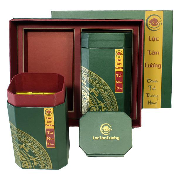 Hộp quà tặng tết Truyền thống giấy Lộc Tân Cương - Trà Nõn Tôm Thái Nguyên