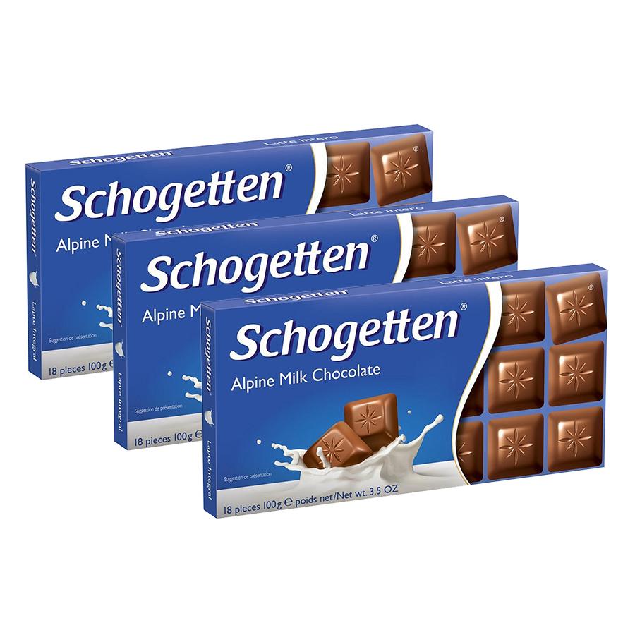 Combo 3 Thanh Sôcôla Ludwig Schokolade 13 Vị Schogetten - Sữa (100g)