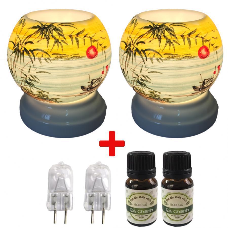 Combo 2 đèn xông tinh dầu MNB09 kèm 2 tinh dầu sả chanh Eco 10ml và 2 bóng đèn
