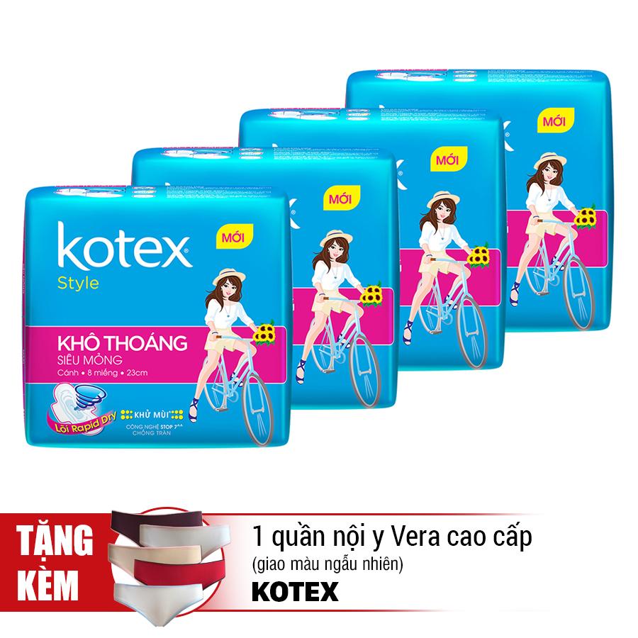 Combo 4 Băng Vệ Sinh Kotex Style LST Siêu Mỏng Cánh - Tặng 1 Quần Nội Y Vera Cao Cấp