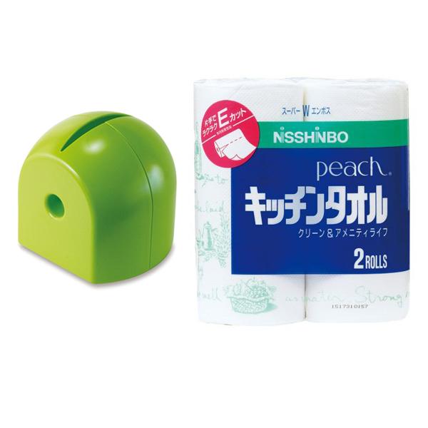 Combo hộp đựng giấy cuộn Iseto màu xanh + 2 cuộn khăn giấy bếp nội địa Nhật Bản