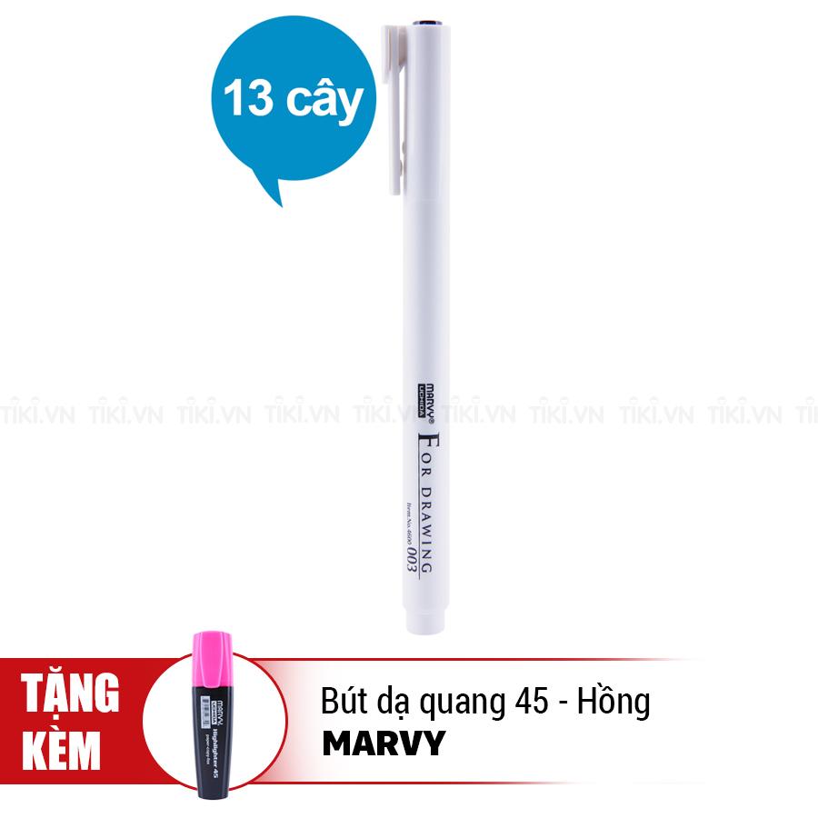 Combo Trọn Bộ Bút Vẽ Kỹ Thuật Marvy 4600 (13 Cây) - Tặng Bút Dạ Quang Marvy 45 (Hồng)