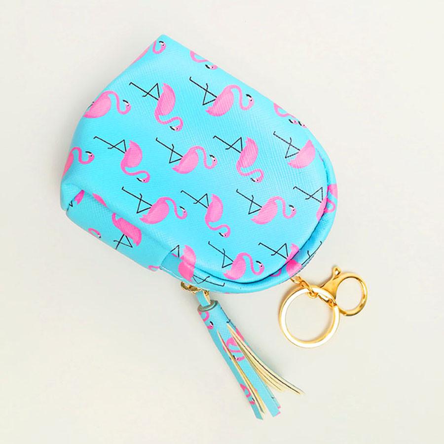 Móc khóa túi ví balo mini da PU - con hạc hồng màu xanh biển
