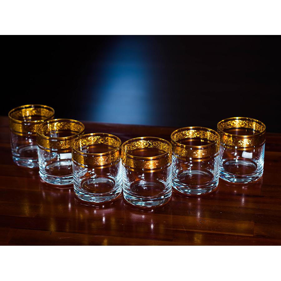 Bộ 6 ly Uống Nước Pha Lê Mạ Vàng 24K 300ml Hoa Văn Cổ Điển