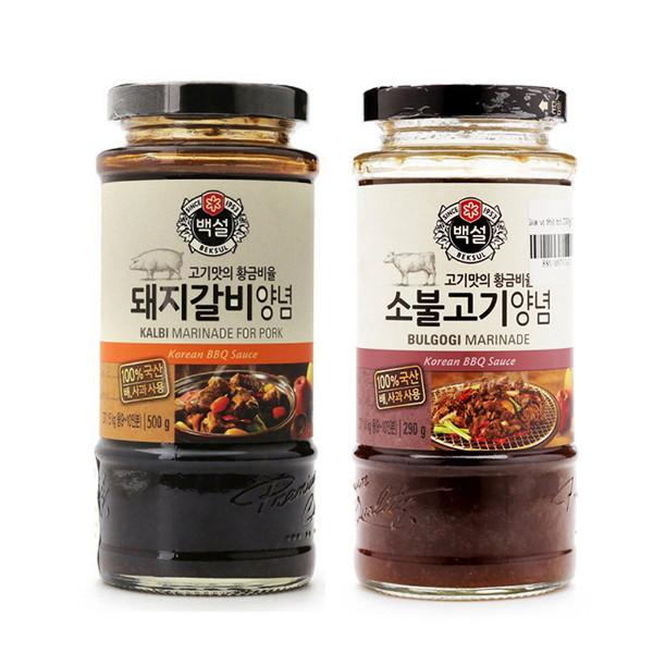 Combo Sốt Ướp BBQ Thịt Heo Bulgogi Beksul 290g Và Sốt Ướp Thịt Bò BBQ Beksul 290g - Nhập Khẩu Hàn Quốc
