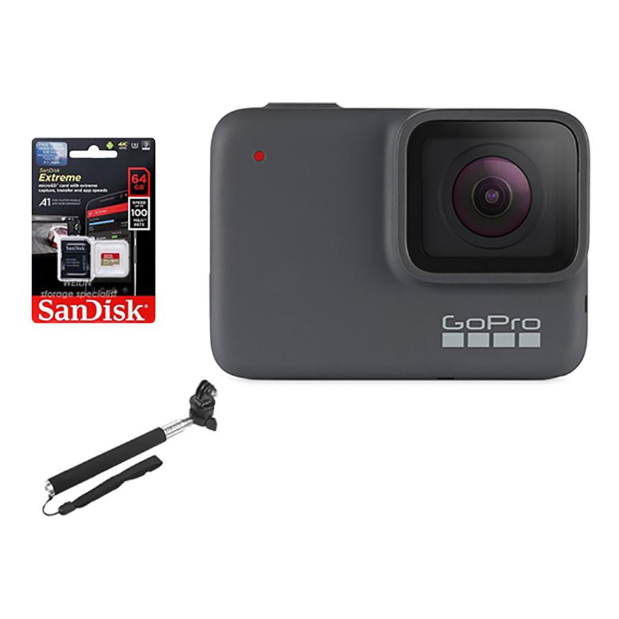 Combo GoPro Hero 7 Sliver + Thẻ Nhớ 64GB 4K + Gậy Cầm Tay  Mount Gắn - Hàng Chính Hãng
