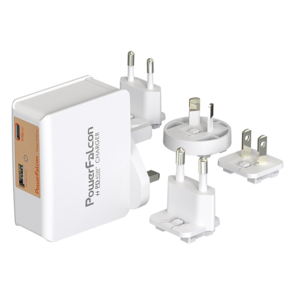 Cục Sạc Powerfalcon 45W PD Dual Port (Type-C+USB-A) Charger / Interchangable