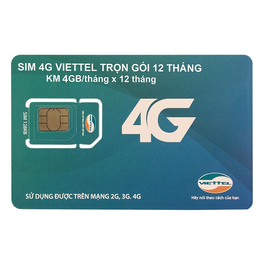 Sim 4G Viettel Trọn Gói 12 Tháng (4Gb/tháng - Không Cần Nạp Tiền Hàng Tháng)