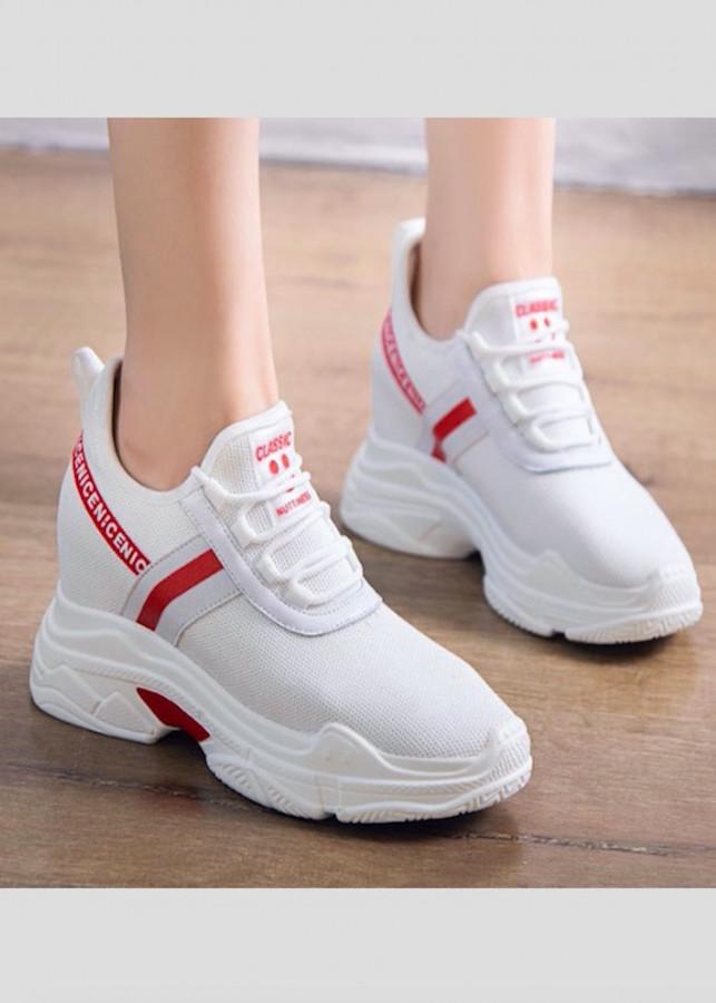 Giày thể thao nữ độn 10p siêu mềm siêu nhẹ màu trắng