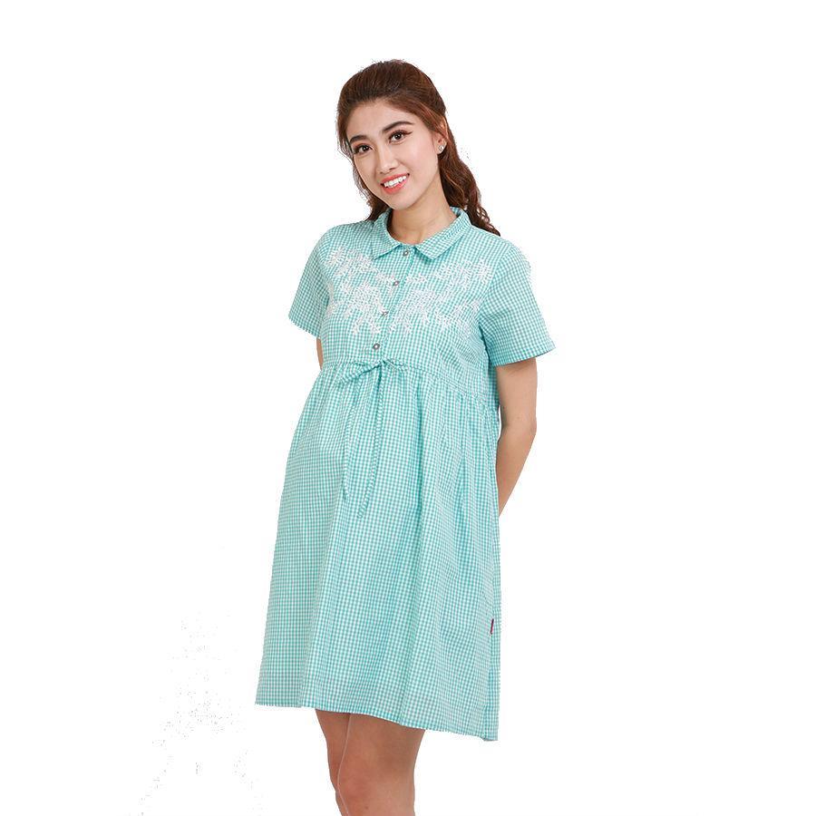 Đầm Bầu Caro Thêu Hoa Annanina 509850 - Xanh