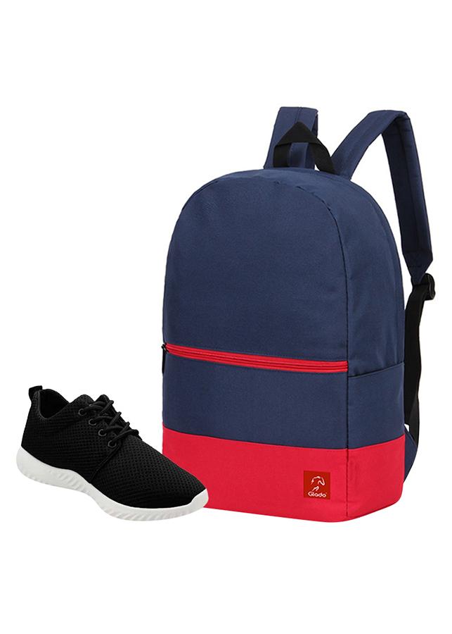 Combo Balo Glado Classical BLL007BU - Xanh Đen + Giày Sneaker GS062BA - Đen