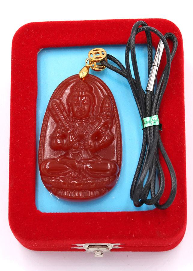 Vòng cổ Hư Không Tạng Bồ Tát đỏ 5 cm DEDN6 kèm hộp nhung