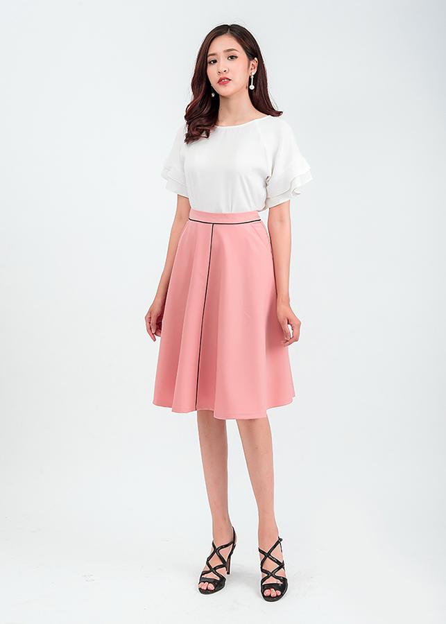 Set áo sơ mi tay bèo chân váy midi 48701 – 48201