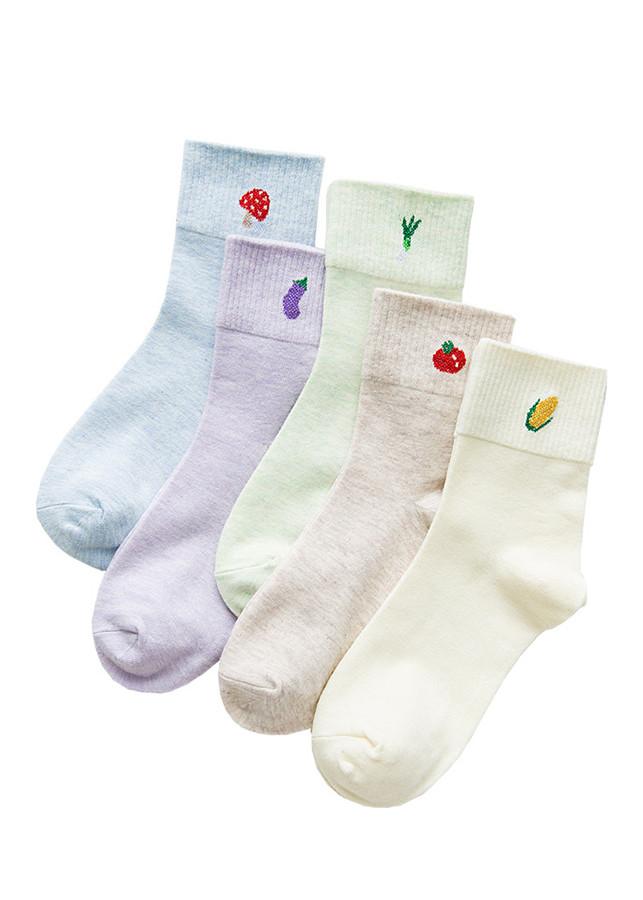 Bộ 5 đôi tất cổ trung cho nữ cotton P3WM04B