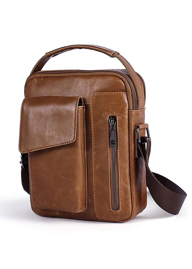 Túi da đeo chéo nam dáng hộp BHM8211 màu Nâu da bò