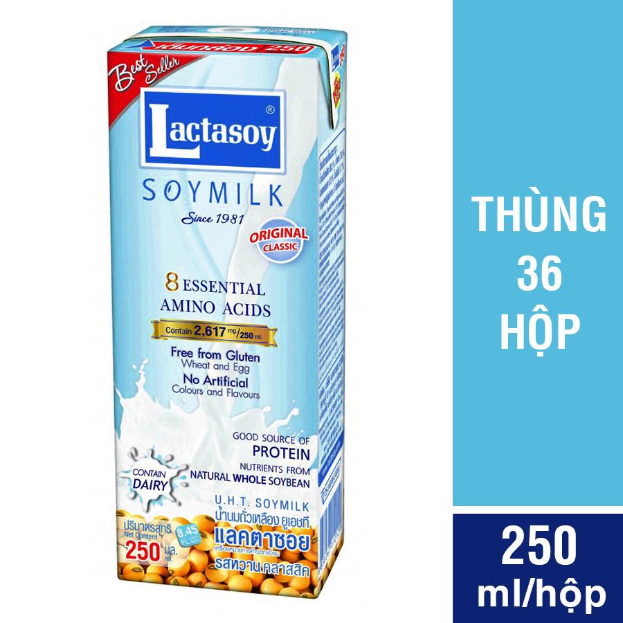 Thùng 36 Hộp Sữa Đậu Nành Lactasoy Nguyên Chất (250ml / Hộp)