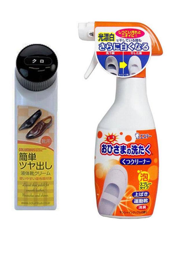 Combo dụng cụ làm bóng giày cao cấp + chai xịt tẩy giày cao cấp nội địa Nhật Bản